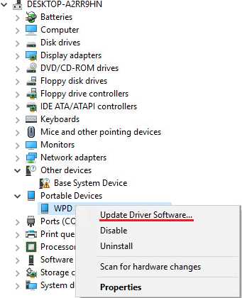 Device Manager Windows 10, External HDD Not Showing Up