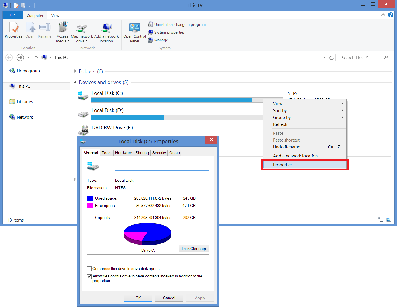 How to see hard drive capacity and free space in Windows