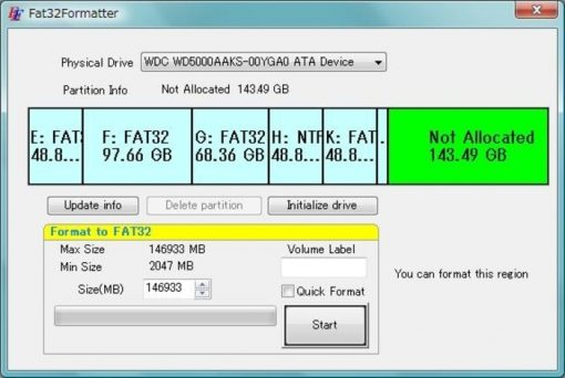 FAT32 formatter