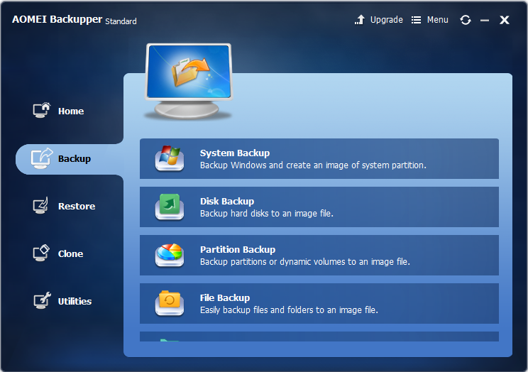 AOMEI Backupper free backup software review, interface backup options