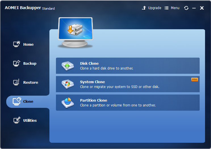 AOMEI Backupper free backup software review, interface clone options