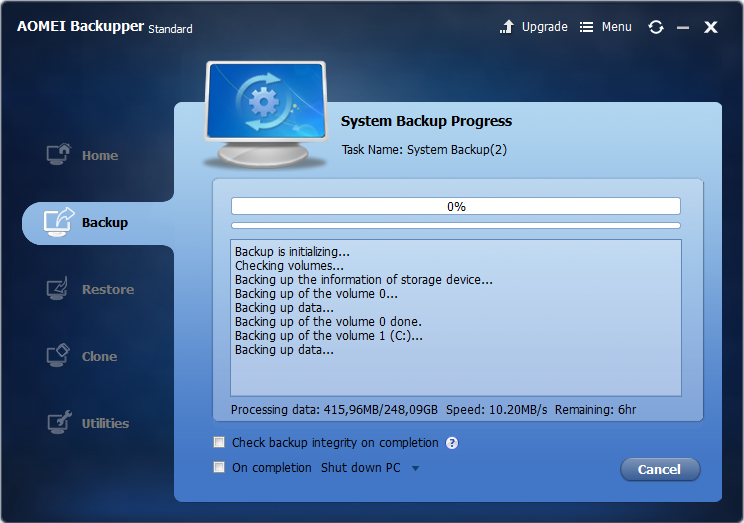 AOMEI Backupper free backup software review, backup test, fast backup software