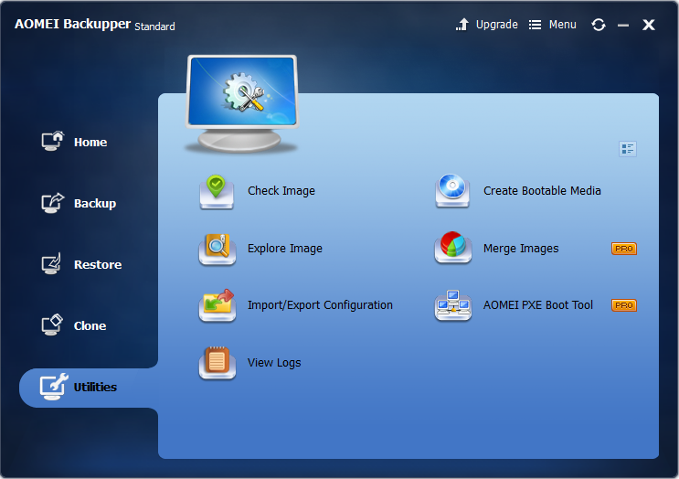 AOMEI Backupper free backup software review, utilities menu options
