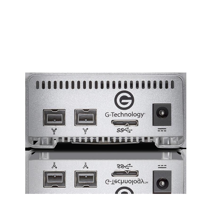 G-Technology G-RAID Mini best portable hard drive RAID review and specs, backside USB 3.0 and FireWire 800 RAID ports
