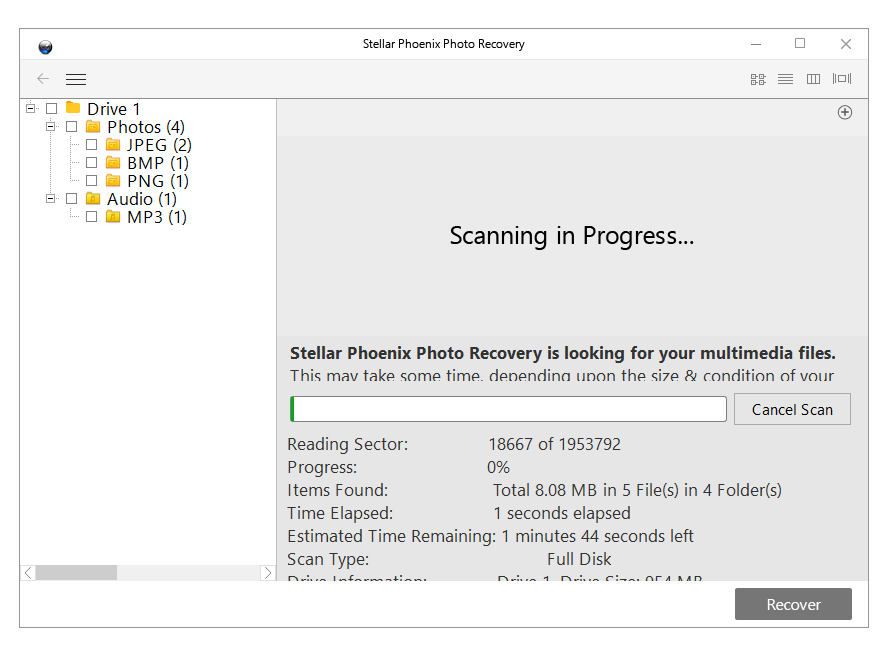 Stellar Phoenix Photo Recovery Titanium, JPEG Repair, Video Repair software, scanning progress