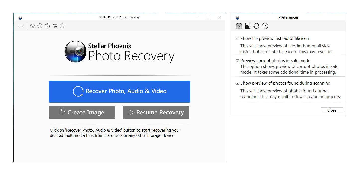 Stellar Phoenix Photo Recovery Titanium, JPEG Repair, Video Repair software interface