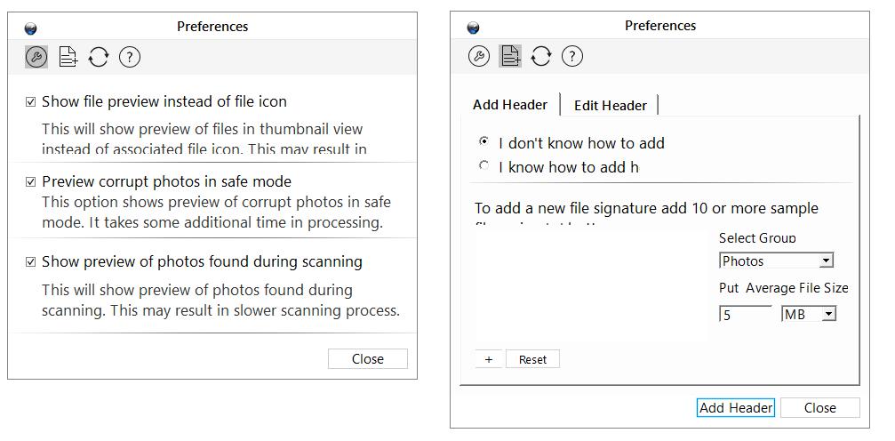 Stellar Phoenix Photo Recovery Titanium, JPEG Repair, Video Repair software, options and preferences