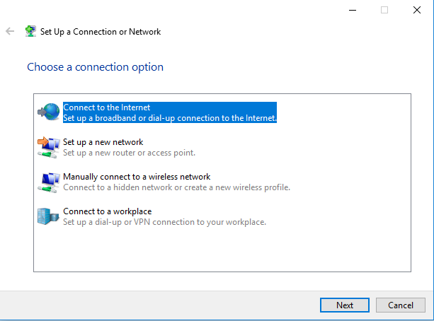 Set up new network connection