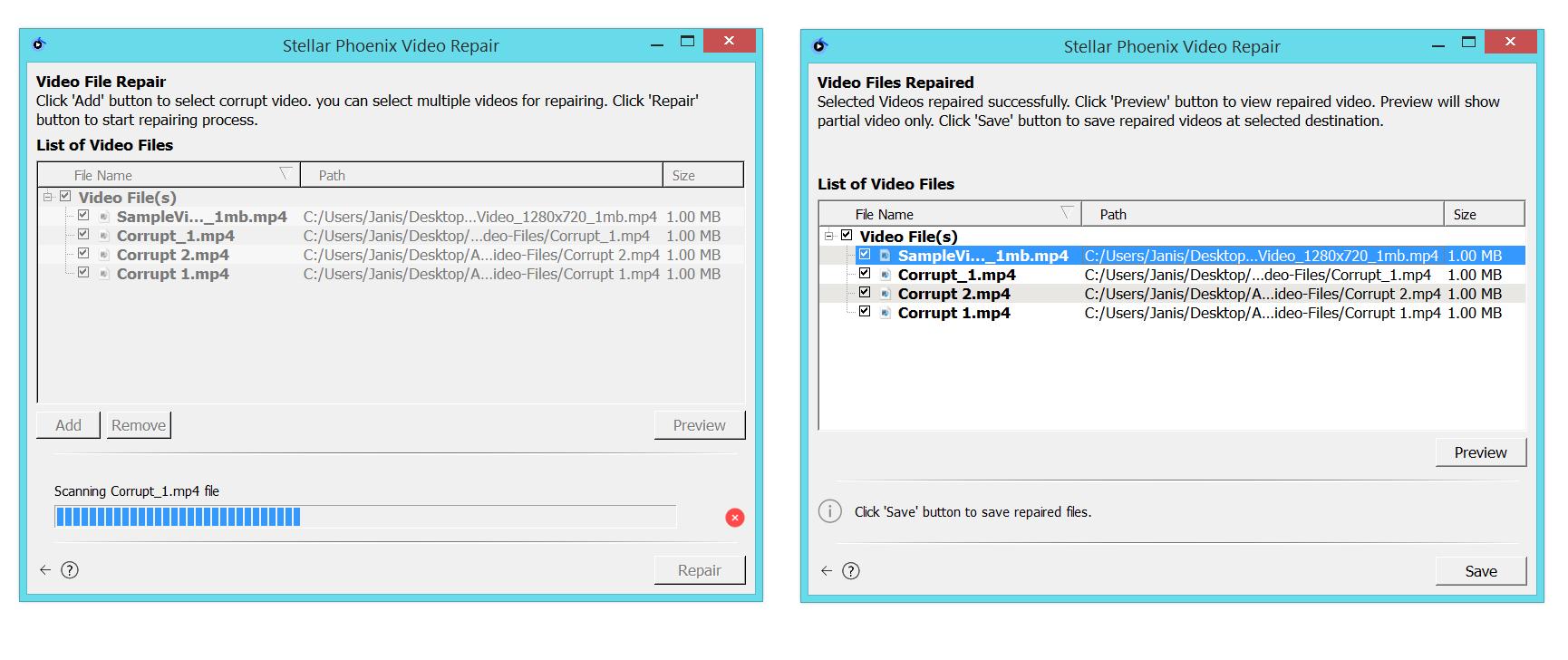 Stellar Phoenix Photo Recovery Titanium, JPEG Repair, Video Repair software, video repair process