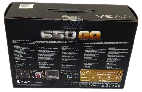 EVGA 650 GQ box from back