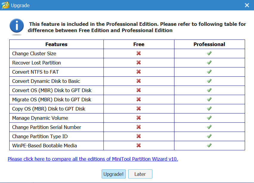 MiniTool Partition Wizard 10.2 review, freeware partition tool download, pro edition upgrade from free version, dynamic disk management software, partition recovery, bootable media bulder software