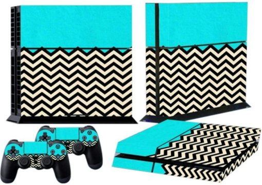 Mod Freakz Console and Controller Vinyl Skin Set - Turquoise Zig Zag for PlayStation 4 Mod