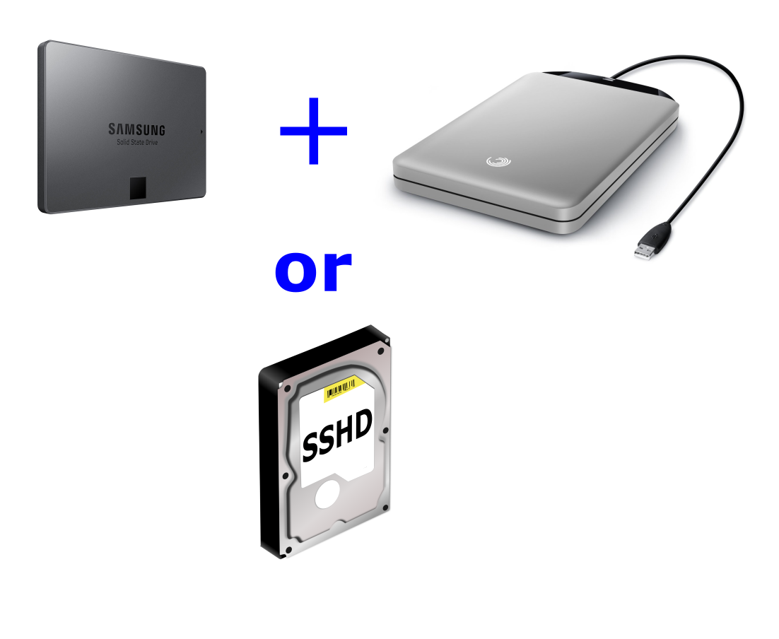 laptop drive combo - SSD plus ext or sshd