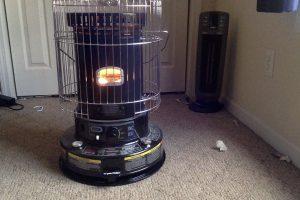 Kerosene heater in action
