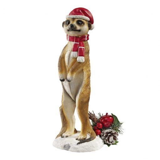 Merry Meerkat Holiday Porch Greeter Meerkat Statue: Set of Two