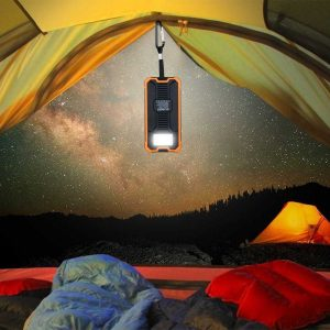 Solar power bank in tent