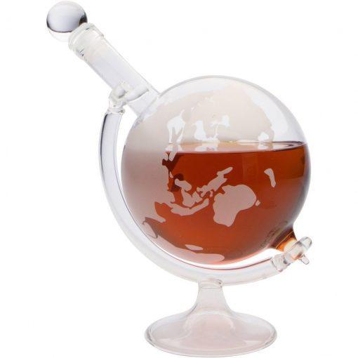 Etched Globe Decanter with Glass Stand