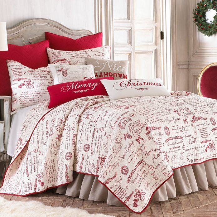 Holiday Script by Levtex Noelle Quilt Set