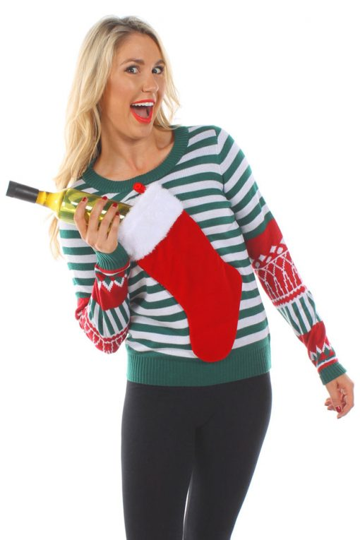 Tipsy Elves Women's Christmas Stocking Tacky Sweater: XX-Large