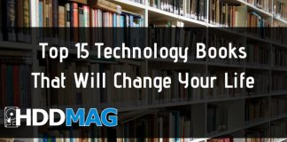 Top 15 Technology Books That Will Change Your Life. Bookshelf with books