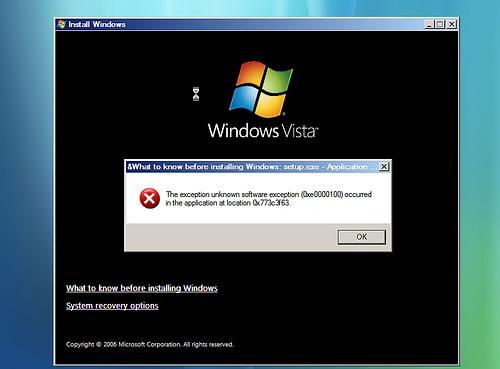 error from windows vista