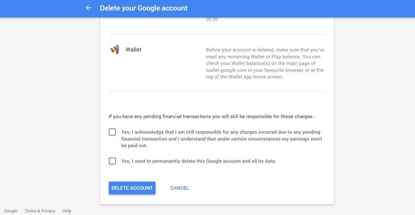 Google wallet terms and conditions