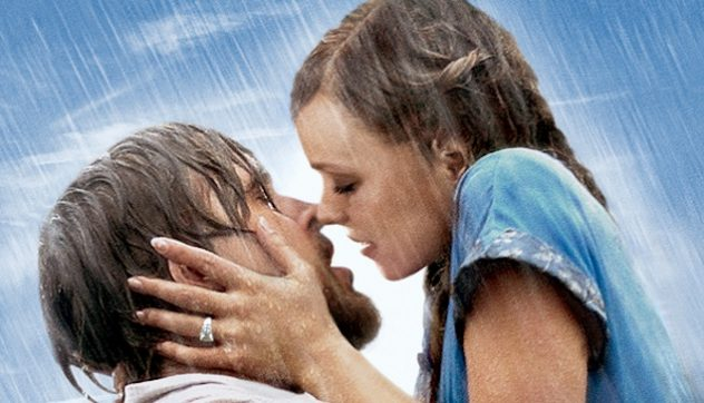 The Notebook characters: Allie and Noah almost kissing in the rain