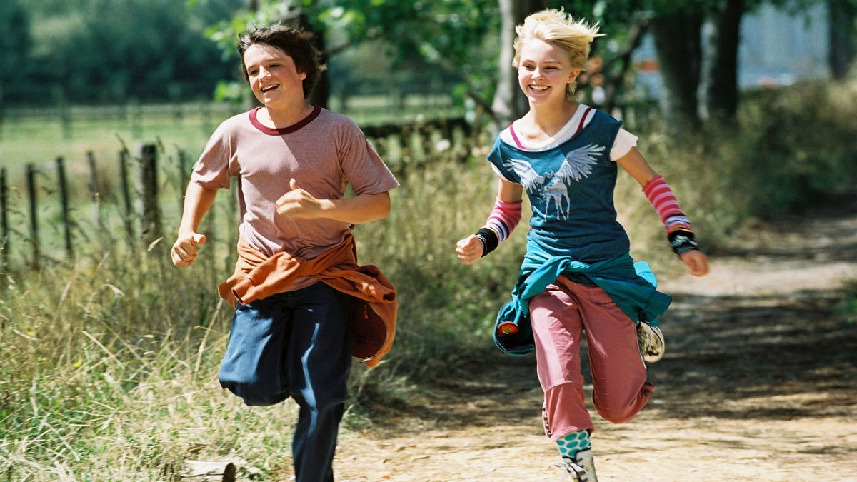 boy and female characters running happily