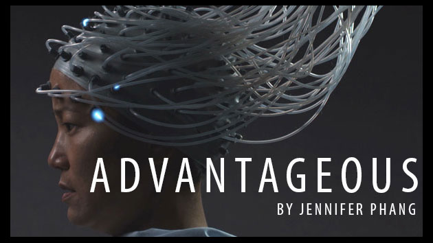 Advantageous poster showing a woman with futuristic headpiece