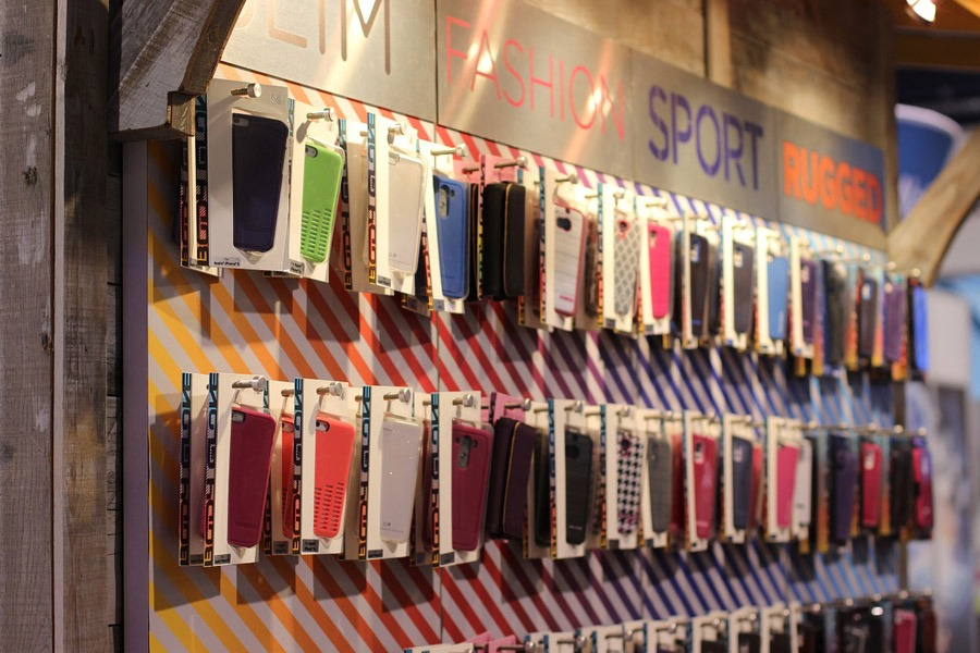 Different kinds of phone cases in displayed in the store