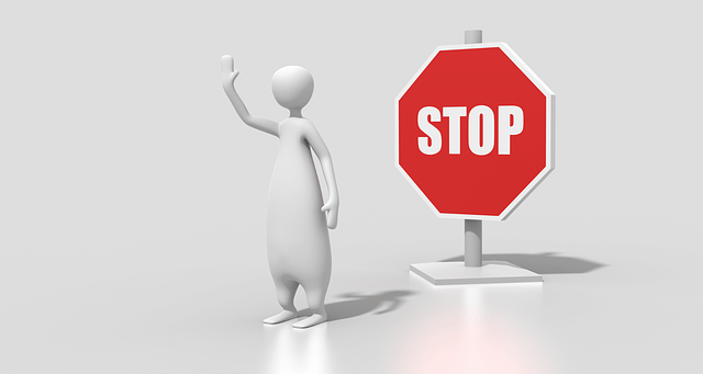 3D image of a person in front of a stop sign