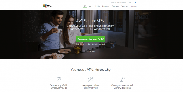 Screencap of AVG vpn homepage