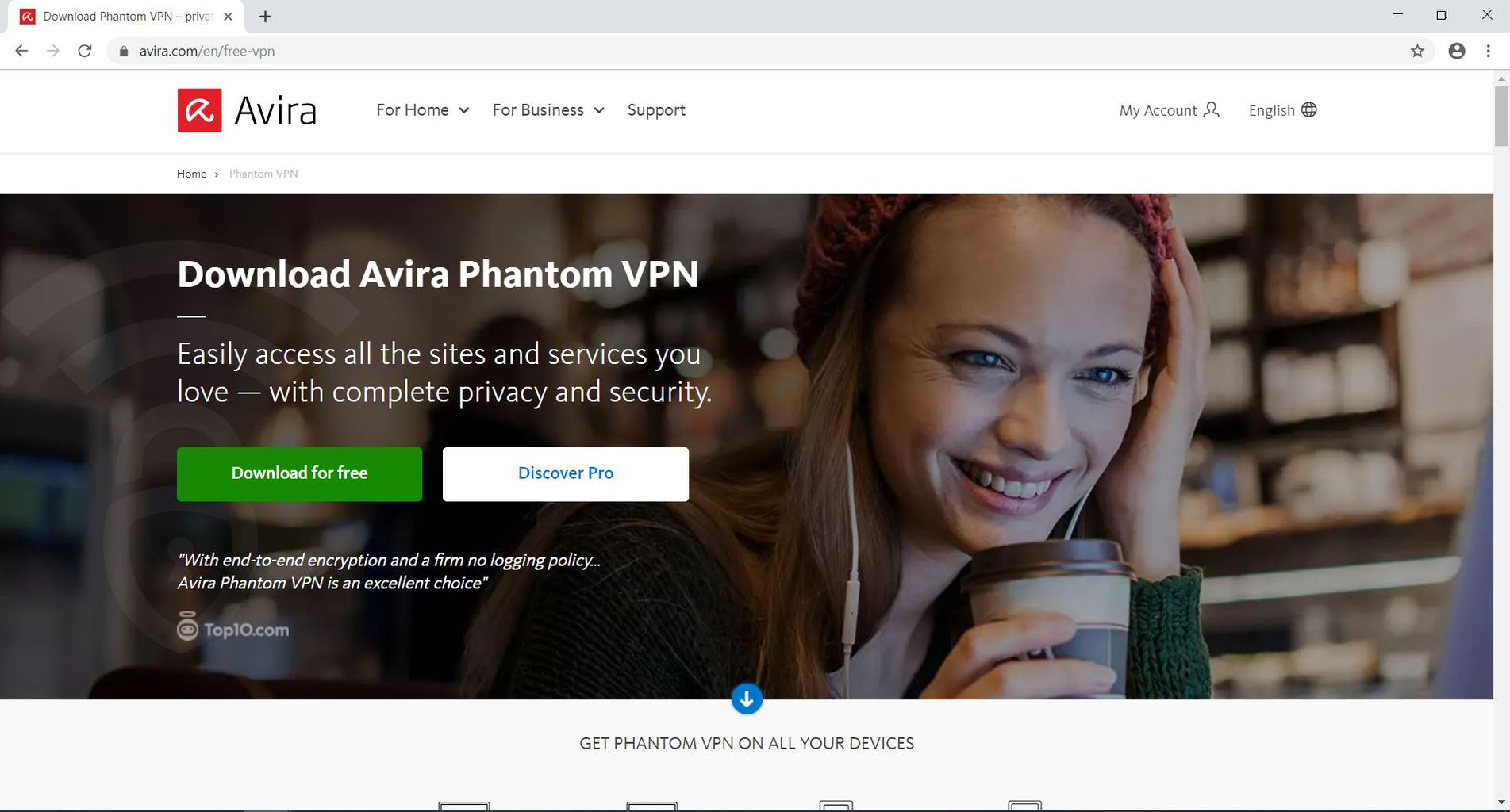 Avira Phantom VPN download page