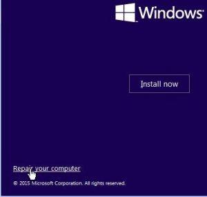 Windows setup - install now