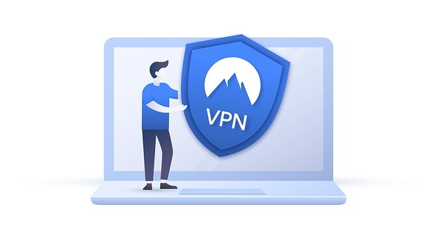 graphic illustration of a person putting vpn on a laptop